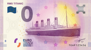This Euro souvenir banknote shows the RMS Titanic, the iconic ship that was built in Belfast and sank in 1912 after striking an iceberg. The Titanic is probably the best-known ship in the world