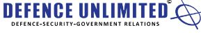 """Blue colour wording """"Defence Unlimited International"""", followed by a blue oval logo with two blue line crossing in the middle. The wording below in black colour - Defence- security- government relations"""