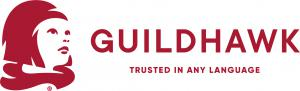 Guildhawk Registered Trademark of a Girl and company name to the right with the Queens Award Emblem 2019 all in Guildhawk red