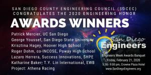 The distinguished winners of the 2020 San Diego County Engineering Council Awards