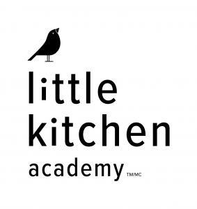 Little Kitchen Academy vertical logo with black bird signet