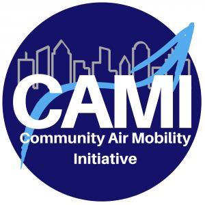 Community Air Mobility Initiative logo: blue circle with skyline, upwards arrow, and CAMI