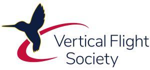 Vertical Flight Society logo: a black hummingbird on a red curve with Vertical Flight Society written