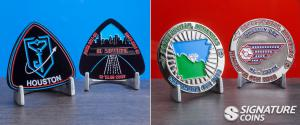 Players from all over the country create their own Ingress Prime coins. These challenge coins were created for events in Houston and Arkansas.