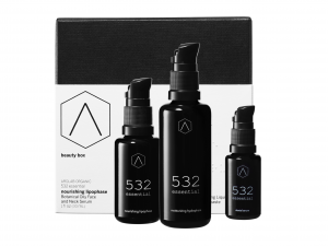 The image contains the box of the 532 essential Beauty Box by AROLAB organic in the background.  In front of the box are the 2 bottles of Cosmetic Protocol and to the right the bottle of Dental Serum.