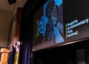 Chagrin Documentary Film Festival - Mary Ann Ponce speaks to the crowd.