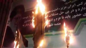 Semnan 10 Feb 2020 - Khamenei posters torched