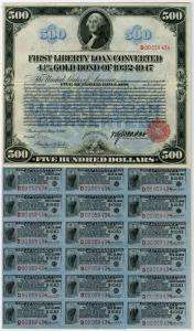 "Washington, D.C. 1918, $500, United States of America, 4.25% First Liberty Loan Converted ""Long"" Coupon Bond. This is only the second $500.00 Liberty Loan bond ever seen by your cataloguer and the only one known to exist of this series. This exceedingly r"