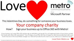 Office 365 offered free to the company charity of new customers to Office 365 and Metro