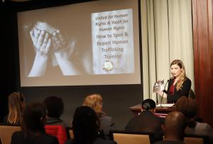 Youth for Human Rights National Office Director Erica Rodgers explaining how human trafficking is a violation of Article 4 in the United Nations Universal Declaration of Human Rights