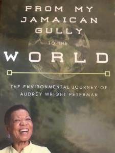 """Book Cover of """"From My Jamaican Gully to the World"""" featuring photo of the author, Audrey Peterman"""