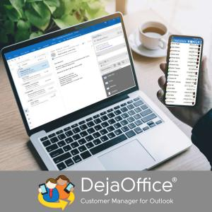 PC showing DejaOffice PC CRM for Outlook