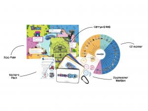 Shown here is the Connection Zoo Family Game Kit, illustrating all kit components. Bright, colorful animal and zoo imagery is highly engaging, to help kids learn social and emotional skills and connection strategies as they play zookeeper and care for their zoo animals.