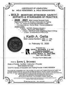 Keith Grella Mold Certification 2020 ServiceMaster By Glenn's