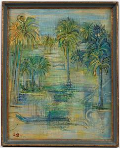 "Gouache on Masonite, ""Ricefields"" Arie Smit (Dutch-Indonesian, 1916-2016), signed l.l. ""Arie'59, Bali."""