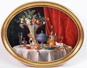 One of a pair of oil on canvas still lifes by Giuseppe Pierotti (Italian, 19th C.), signed and dated 1870.