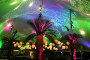 Light projection tent rental decor
