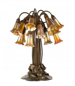 "Tiffany Studios (N.Y.) 18-light ""Lily"" lamp bronze lily base with brownish gold patina, 18 original Favrile shades, stamped 'Tiffany Studios, NY #383' (est. $30,000-$50,000)."