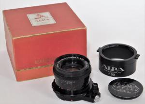 Kern Macro-Switar AR 50mm f/1.9 lens for Alpha mount, with lens hood, lens cap and original box (est. $800-$1,200).