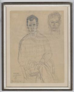 "Pencil drawing by Beat Generation writer Jack Kerouac titled Weird Self-Portrait at Sea, signed by Kerouac as ""Jean Louis Kérouac"" (est. $4,000-$5,000)"