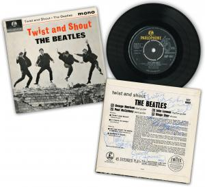 Rare first UK pressing of the Beatles' debut EP, Twist and Shout, signed by all four Beatles on the cover (est. $16,000-$18,000). The four-song EP is on the Parlophone (UK) label.
