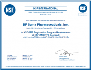 BF awarded certificate of BF Suma, NSF for the GMP registered Dietary Supplyments