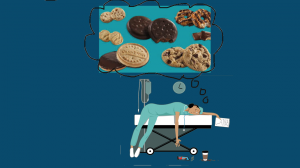 exhausted healthcare worker dreams about cookies