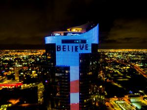 """100-Yard Tall """"Believe"""" Lyric from Pitbull Anthem """"Believe That We Will Win"""" Global Anthem Appears on Massive LED Animation Display at Paramount Miami Worldcenter Tower (Bryan Glazer 