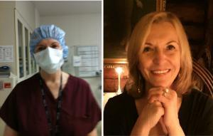 Split photo of nurse Pamela Jane Nye, Operation Scrubs' Executive Director