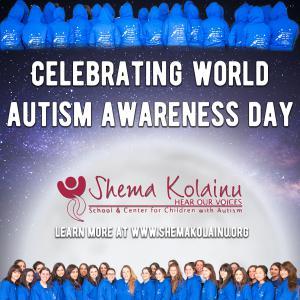 Staff at Shema Kolainu - Hear Our Voices Celebrating World Autism Awareness Day