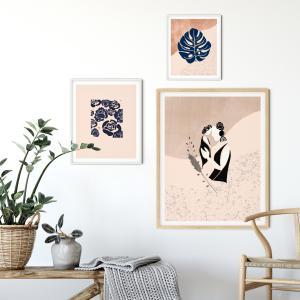 mother and child wall art, motherhood, blue Botanical, Eclectic Modern Printable wall art, Eclectic Home Decor, Mid Century Modern, Modern Minimalist, Boho design, Abstract Sun,floral art print, set of 3 wall art