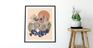 Terracotta Sun Print, Indigo wall art, Sun Art Painting, Mother and child print Boho design, Celestial art Print, Eclectic Home Decor, Bohemian Sun Print