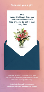 Email confirmation for Gift Now, Deliver Later floral gift.