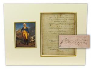 Discharge papers signed by then-General George Washington for Private Daniel Davis (1750-1851), releasing the soldier from military service, dated June 8, 1783 (est. $10,000-$12,000).
