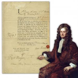 Partly printed and partly handwritten one-page document signed by Sir Isaac Newton, dated July 13, 1720, regarding his investment in the ill-fated South Seas Company (est. $35,000-$40,000).