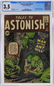 This copy of Tales to Astonish #27 (Jan. 1962), featuring the first appearance of the Ant-Man, graded CGC 3.5, changed hands for a record $3,875.
