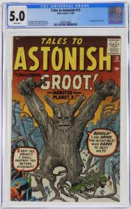 This copy of Tales to Astonish #13 (Nov. 1960), featuring the origin and first appearance of Groot, graded CGC 5.0, finished at $3,750.