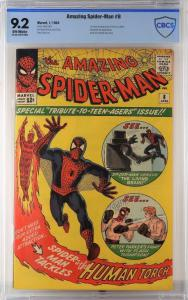Copy of Marvel Comics' Amazing Spider-Man #8 (Jan. 1964), the first cover and appearance of the Living Brain, plus an appearance by the Fantastic Four, graded CGC 9.2 ($3,240).
