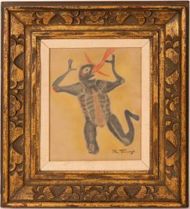 Pastel on paper painting of a reptilian alien swallowing a phoenix by the noted Mexican artist Rufino Tamayo (1889-1991), signed and framed ($4,250).