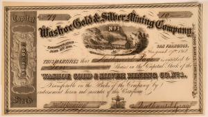 Stock certificate for the Washoe Gold & Silver Mining Company in Comstock, Silver City, Nevada, dated Aug. 17, 1861 in the amount of ten shares, issued to Nathaniel Page ($1,000).