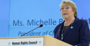 UN High Commissioner for Human Rights Michelle Bachelet speaks on protecting human rights while implementing effective public health policies. (Photo Courtesy of UN NEWS)
