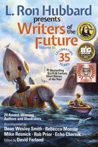 Writers of the Future 35 has also won Benjamin Franklin Award which is displayed on the book cover along with NYC Big Book Award for Best Anthology and the Critters Annual Readers Poll for Best Anthology.