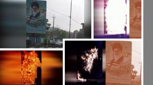 Karaj – Torching Ali Khamenei's banner