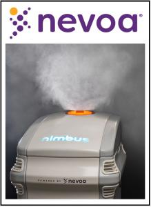 Nevoa's robot, Nimbus, fogs Nevoa Microburst Solution to disinfect patient rooms, killing pathogens such as COVID-19.