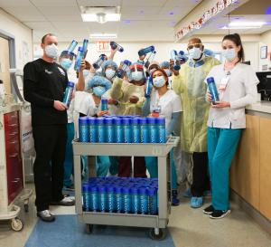 Bottles of VOSS water delivered to hospital staff and first responders treating coronavirus patients