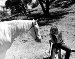 "Donna Benefield at Glenn Randall's Ranch with The Lone Ranger's ""Silver"""