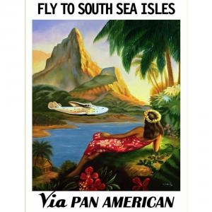 Paul George Lawler's iconic and romantic image of a Pan American Airways flying boat over a South Pacific lagoonn