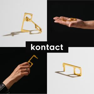 Kontact keys being held in hands with the Kontact logo in the center