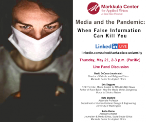 Person views false information regarding Covid-19 on their smartphone. Details for a live panel discussion on the pandemic and the media.