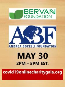 Andrea Bocelli and Bervann Foundation May 30 COVID-19 Online Charity GALA